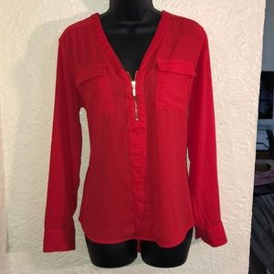 Bright Red Long Sleeve Express Top!